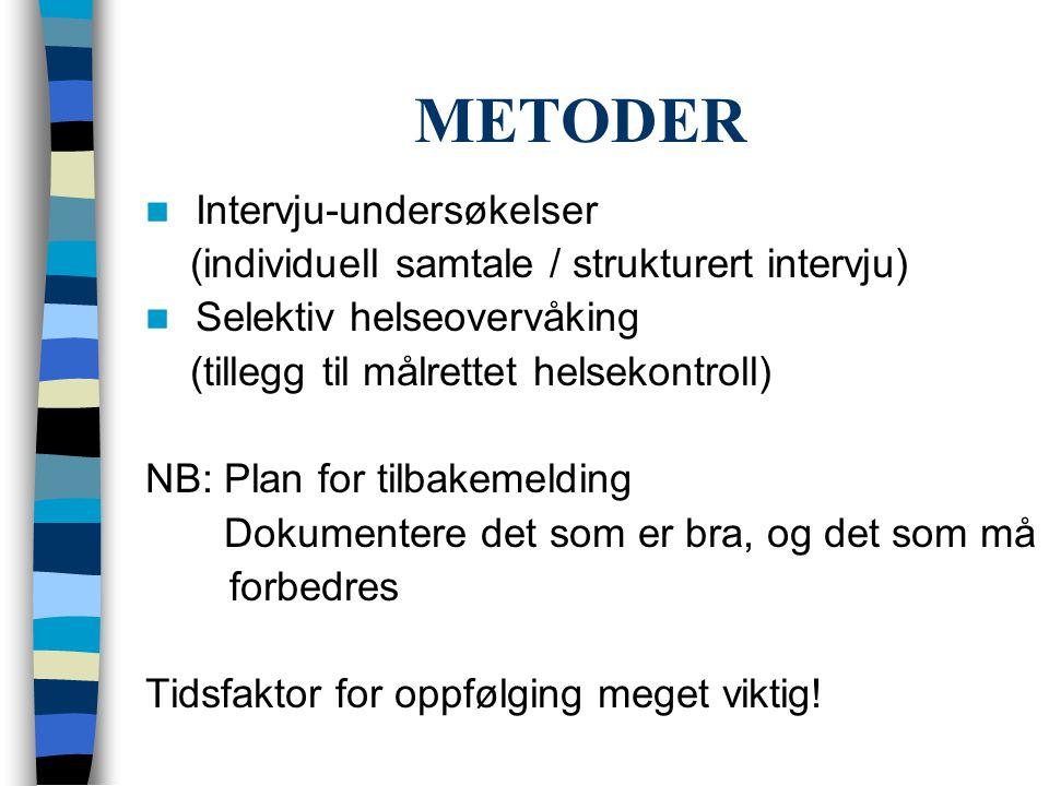 METODER  Intervju-undersøkelser (individuell samtale / strukturert intervju)  Selektiv helseovervåking (tillegg til målrettet helsekontroll) NB: Pla