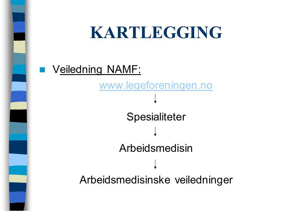 KARTLEGGING  Veiledning NAMF: www.legeforeningen.no Spesialiteter Arbeidsmedisin Arbeidsmedisinske veiledninger