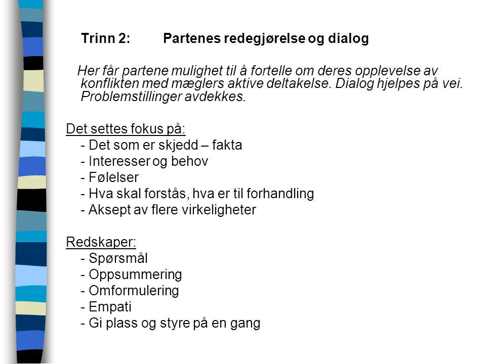  Trinn 2:Partenes redegjørelse og dialog Her får partene mulighet til å fortelle om deres opplevelse av konflikten med mæglers aktive deltakelse. Dia
