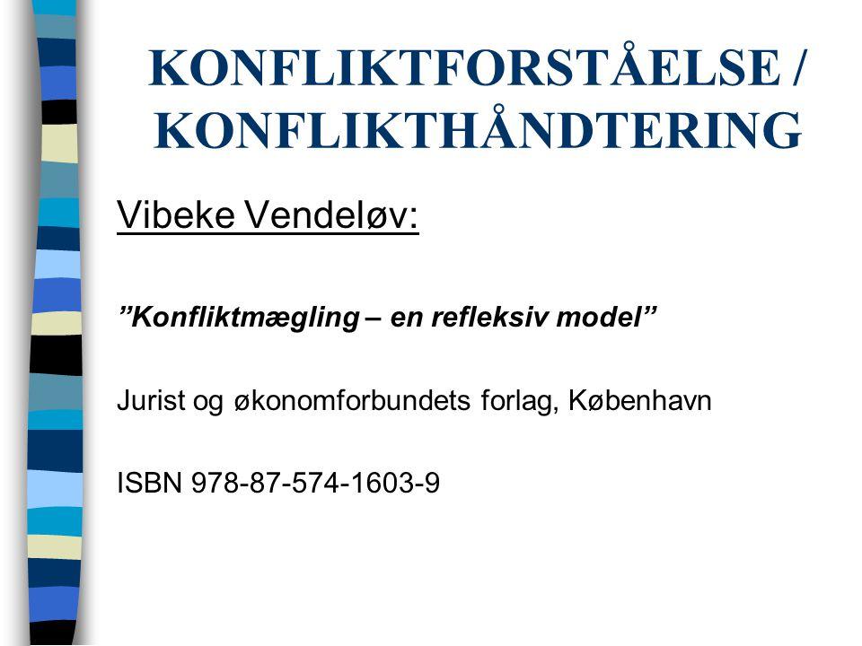 """KONFLIKTFORSTÅELSE / KONFLIKTHÅNDTERING Vibeke Vendeløv: """"Konfliktmægling – en refleksiv model"""" Jurist og økonomforbundets forlag, København ISBN 978-"""