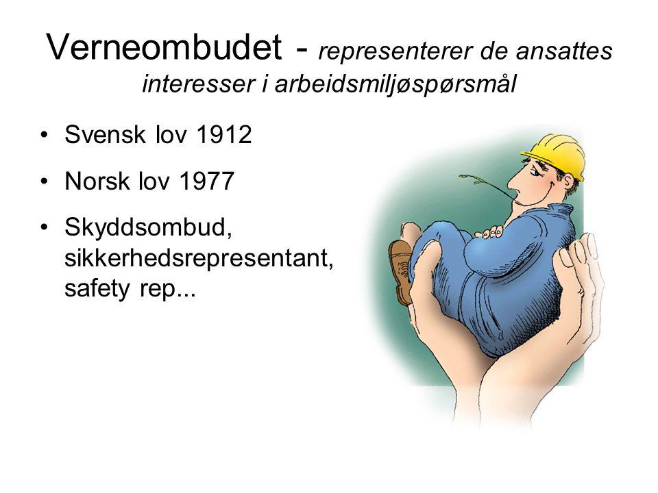 Verneombudet - representerer de ansattes interesser i arbeidsmiljøspørsmål •Svensk lov 1912 •Norsk lov 1977 •Skyddsombud, sikkerhedsrepresentant, safety rep...