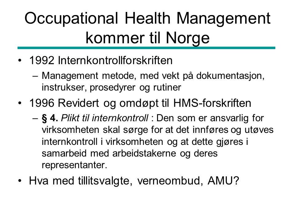 Occupational Health Management kommer til Norge •1992 Internkontrollforskriften –Management metode, med vekt på dokumentasjon, instrukser, prosedyrer og rutiner •1996 Revidert og omdøpt til HMS-forskriften –§ 4.