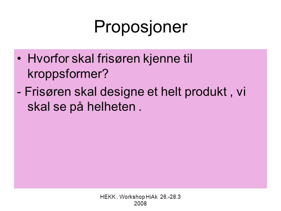 HEKK, Workshop HiAk 26.-28.3 2008 Proposjoner •Hvorfor skal frisøren kjenne til kroppsformer? - Frisøren skal designe et helt produkt, vi skal se på h