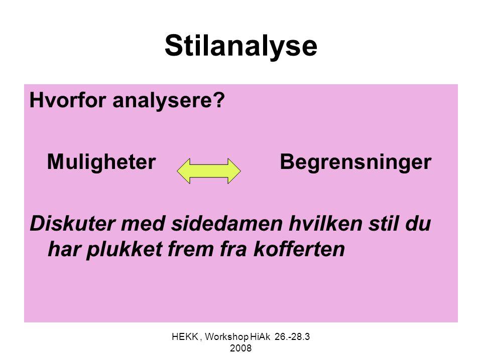 HEKK, Workshop HiAk 26.-28.3 2008 Stilanalyse Hvorfor analysere? Muligheter Begrensninger Diskuter med sidedamen hvilken stil du har plukket frem fra