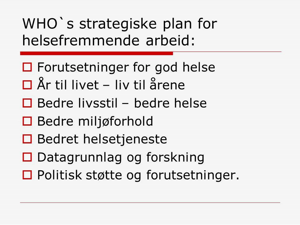 WHO`s strategiske plan for helsefremmende arbeid:  Forutsetninger for god helse  År til livet – liv til årene  Bedre livsstil – bedre helse  Bedre