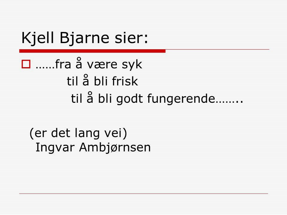 Kjell Bjarne sier:  ……fra å være syk til å bli frisk til å bli godt fungerende…….. (er det lang vei) Ingvar Ambjørnsen
