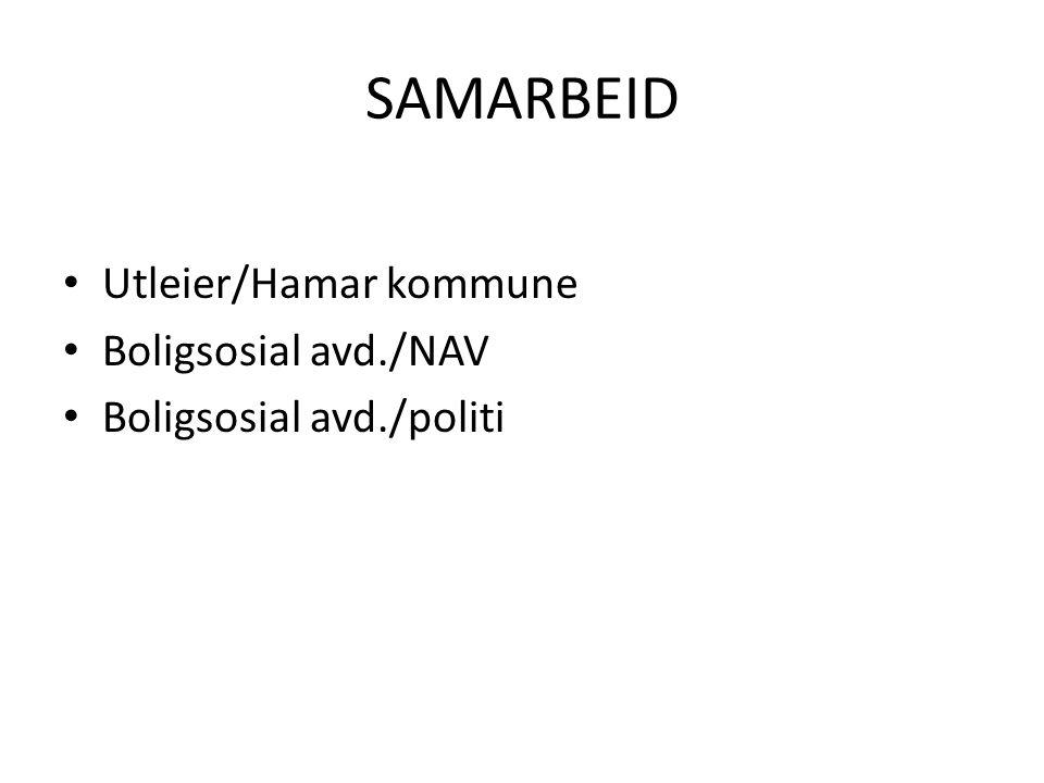 • Utleier/Hamar kommune • Boligsosial avd./NAV • Boligsosial avd./politi