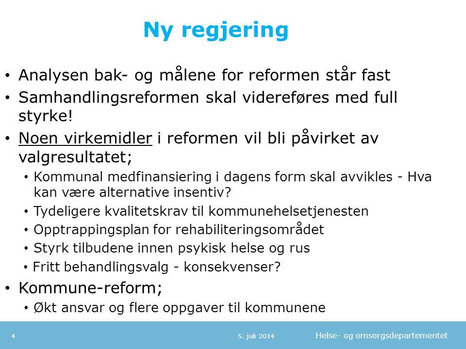 Helse- og omsorgsdepartementet Ny regjering • Analysen bak- og målene for reformen står fast • Samhandlingsreformen skal videreføres med full styrke!