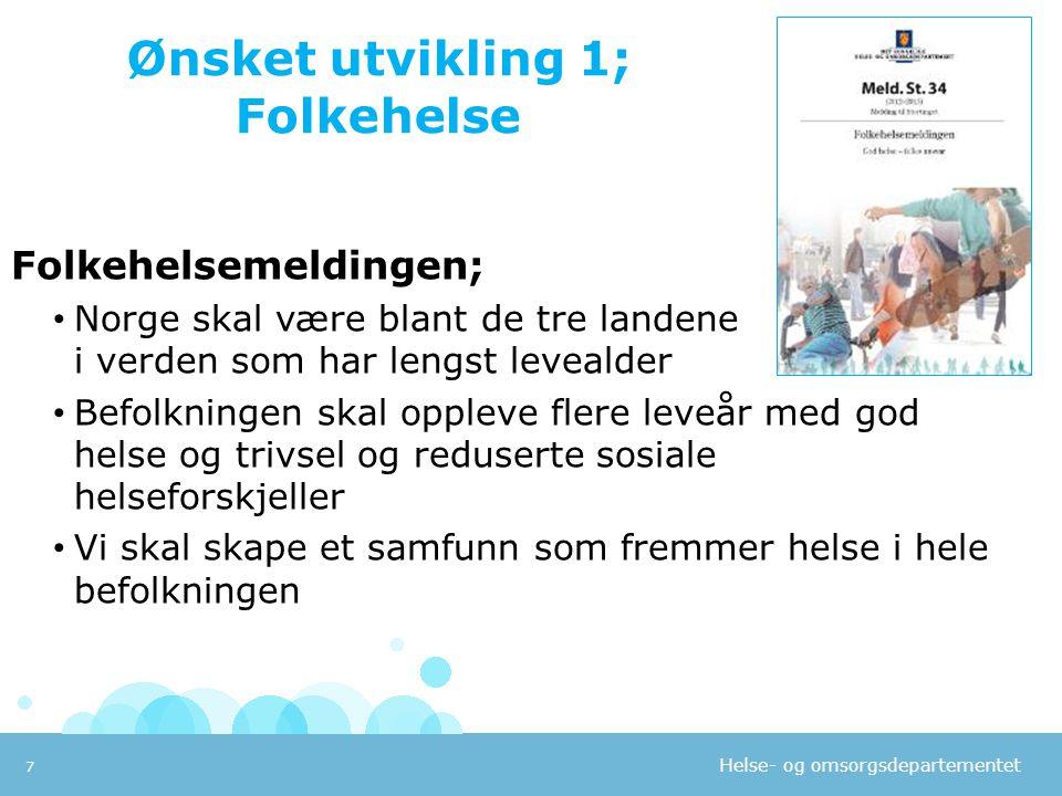 Helse- og omsorgsdepartementet Ønsket utvikling 1; Folkehelse Folkehelsemeldingen; • Norge skal være blant de tre landene i verden som har lengst leve