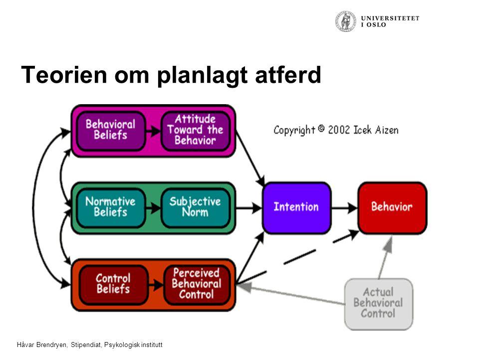 Håvar Brendryen, Stipendiat, Psykologisk institutt Teorien om planlagt atferd