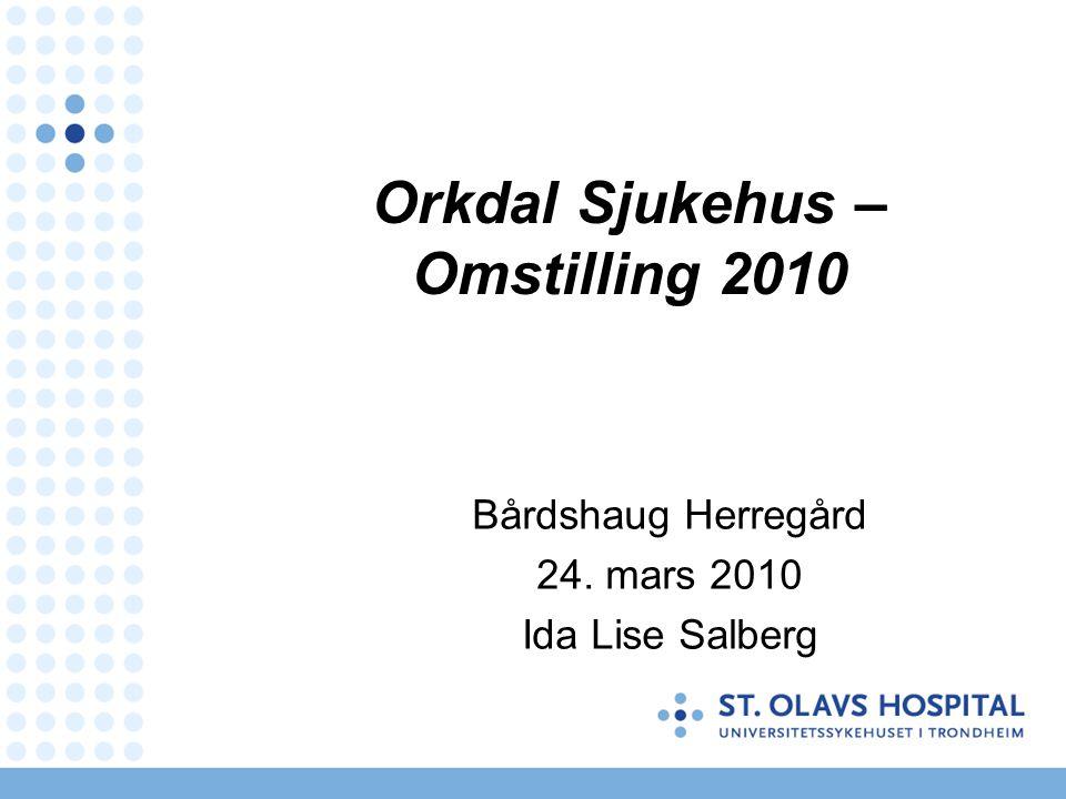 Orkdal Sjukehus – Omstilling 2010 Bårdshaug Herregård 24. mars 2010 Ida Lise Salberg