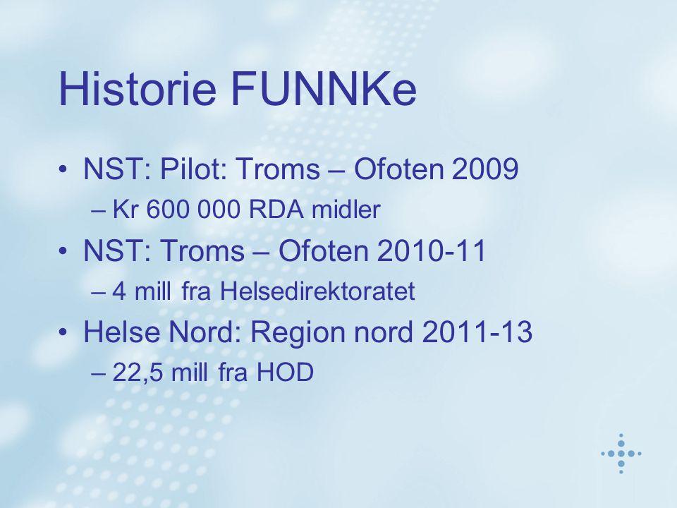 Historie FUNNKe •NST: Pilot: Troms – Ofoten 2009 –Kr 600 000 RDA midler •NST: Troms – Ofoten 2010-11 –4 mill fra Helsedirektoratet •Helse Nord: Region nord 2011-13 –22,5 mill fra HOD