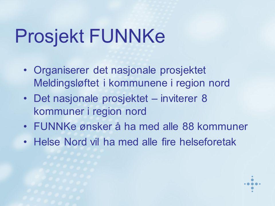 Prosjekt FUNNKe •Organiserer det nasjonale prosjektet Meldingsløftet i kommunene i region nord •Det nasjonale prosjektet – inviterer 8 kommuner i regi