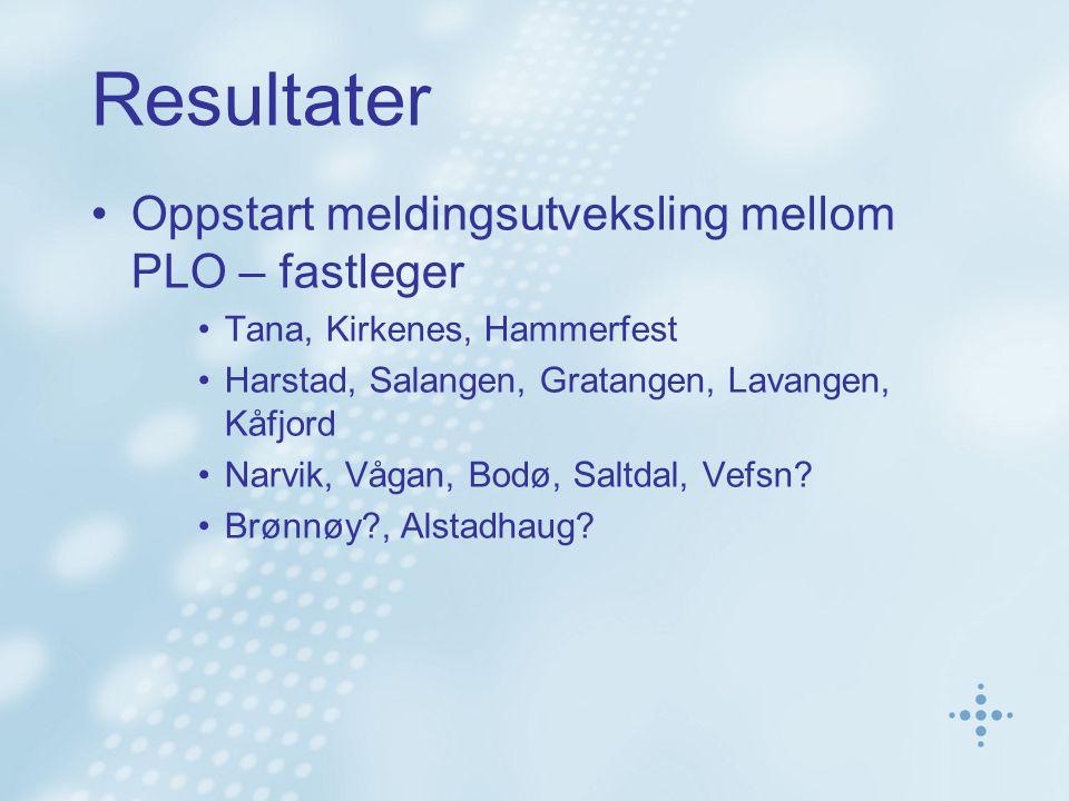 Resultater •Oppstart meldingsutveksling mellom PLO – fastleger •Tana, Kirkenes, Hammerfest •Harstad, Salangen, Gratangen, Lavangen, Kåfjord •Narvik, Vågan, Bodø, Saltdal, Vefsn.