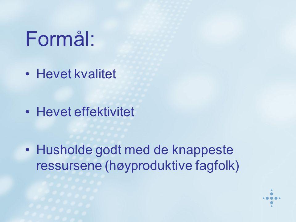 Formål: •Hevet kvalitet •Hevet effektivitet •Husholde godt med de knappeste ressursene (høyproduktive fagfolk)