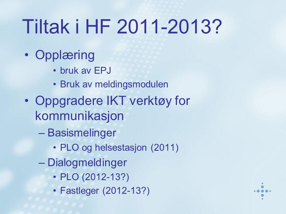 Tiltak i HF 2011-2013? •Opplæring •bruk av EPJ •Bruk av meldingsmodulen •Oppgradere IKT verktøy for kommunikasjon –Basismelinger •PLO og helsestasjon