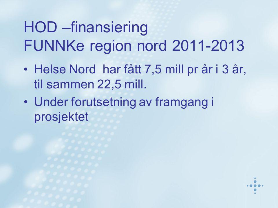 HOD –finansiering FUNNKe region nord 2011-2013 •Helse Nord har fått 7,5 mill pr år i 3 år, til sammen 22,5 mill.