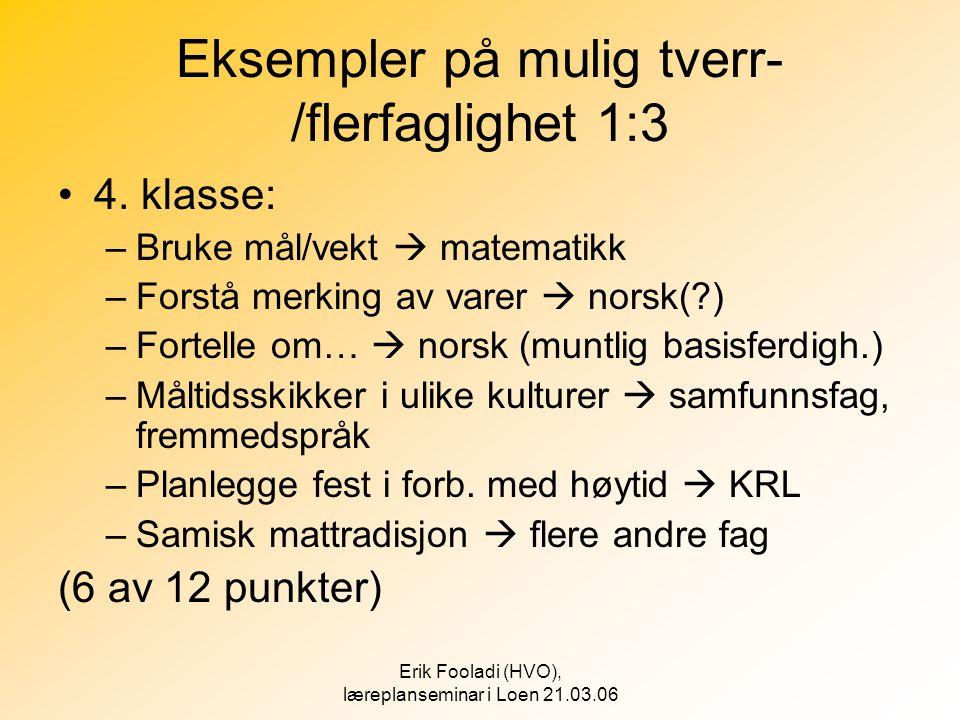 Erik Fooladi (HVO), læreplanseminar i Loen 21.03.06 Eksempler på mulig tverr- /flerfaglighet 1:3 •4. klasse: –Bruke mål/vekt  matematikk –Forstå merk