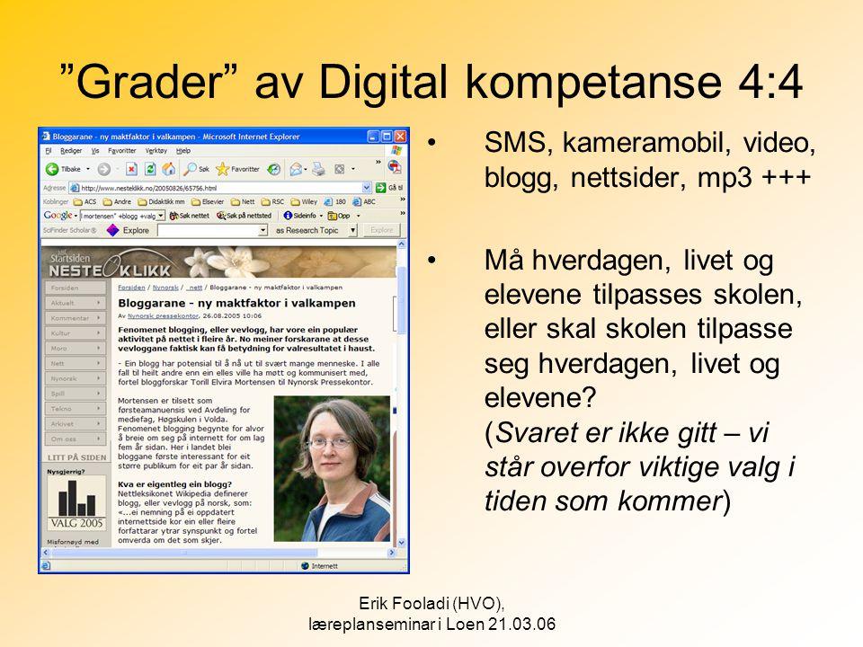 """Erik Fooladi (HVO), læreplanseminar i Loen 21.03.06 """"Grader"""" av Digital kompetanse 4:4 •SMS, kameramobil, video, blogg, nettsider, mp3 +++ •Må hverdag"""