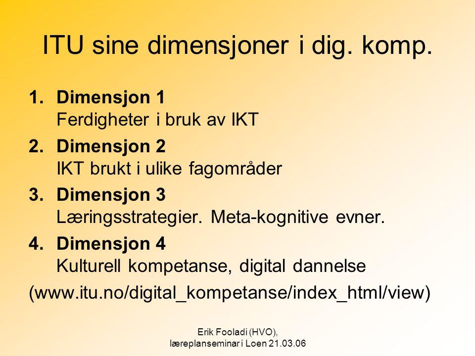 Erik Fooladi (HVO), læreplanseminar i Loen 21.03.06 ITU sine dimensjoner i dig. komp. 1.Dimensjon 1 Ferdigheter i bruk av IKT 2.Dimensjon 2 IKT brukt