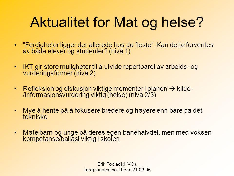 """Erik Fooladi (HVO), læreplanseminar i Loen 21.03.06 Aktualitet for Mat og helse? •""""Ferdigheter ligger der allerede hos de fleste"""". Kan dette forventes"""