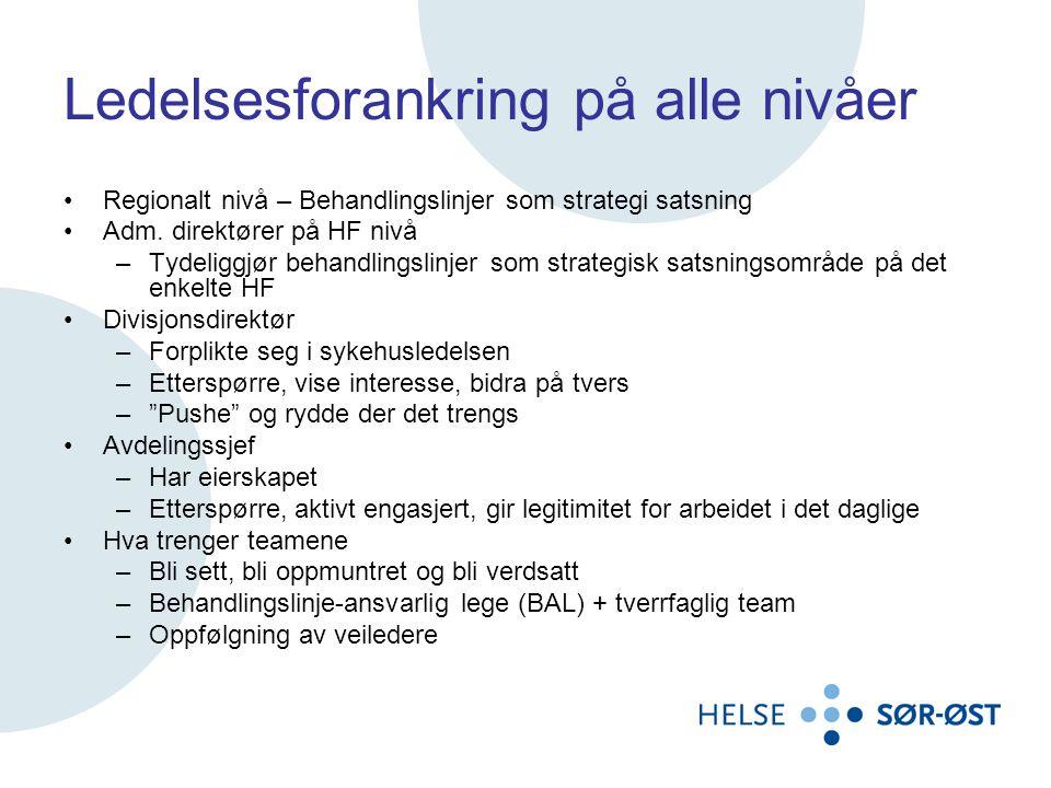Ledelsesforankring på alle nivåer •Regionalt nivå – Behandlingslinjer som strategi satsning •Adm. direktører på HF nivå –Tydeliggjør behandlingslinjer