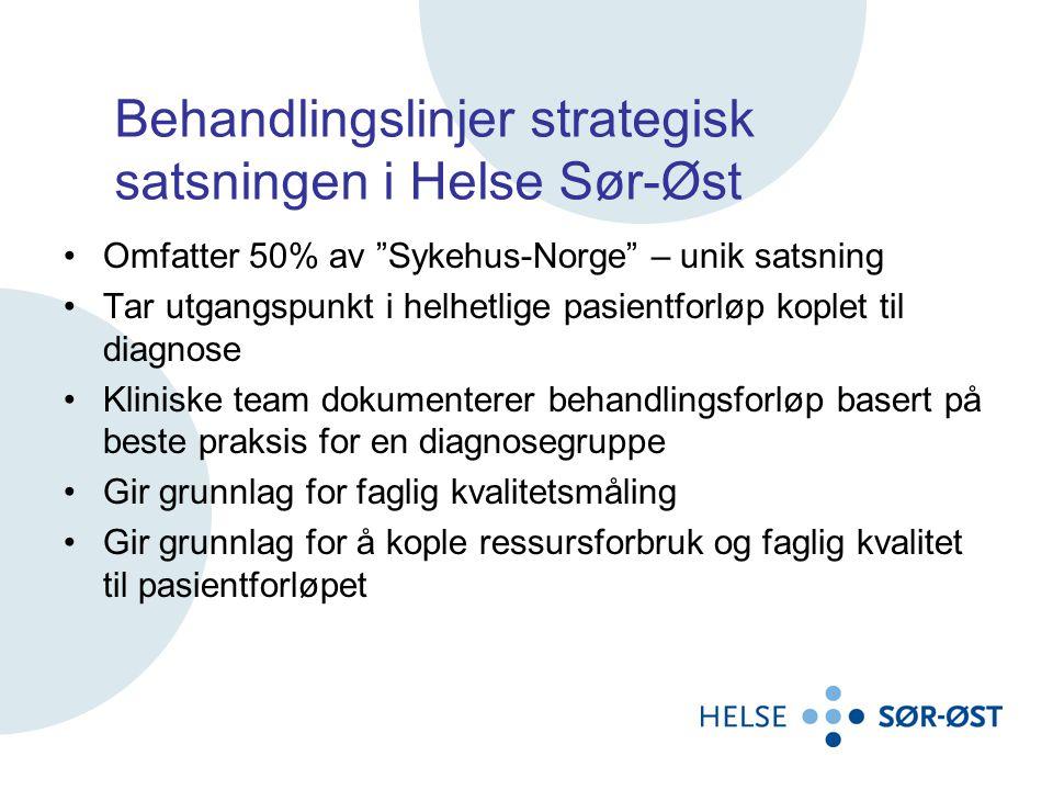 """Behandlingslinjer strategisk satsningen i Helse Sør-Øst •Omfatter 50% av """"Sykehus-Norge"""" – unik satsning •Tar utgangspunkt i helhetlige pasientforløp"""