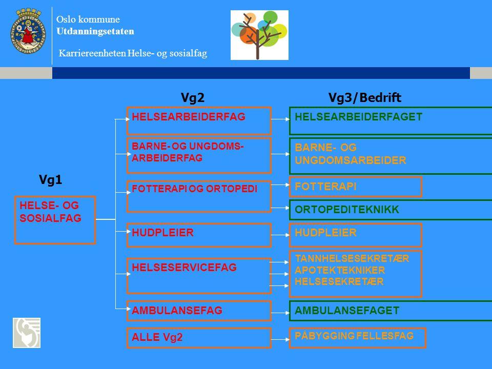 Oslo kommune Utdanningsetaten Karriereenheten Helse- og sosialfag Vg2Vg3/Bedrift HELSE- OG SOSIALFAG HELSEARBEIDERFAG BARNE- OG UNGDOMS- ARBEIDERFAG FOTTERAPI OG ORTOPEDI HELSESERVICEFAG AMBULANSEFAG ALLE Vg2 HUDPLEIER HELSEARBEIDERFAGET BARNE- OG UNGDOMSARBEIDER HUDPLEIER FOTTERAPI TANNHELSESEKRETÆR APOTEKTEKNIKER HELSESEKRETÆR AMBULANSEFAGET PÅBYGGING FELLESFAG Vg1 ORTOPEDITEKNIKK