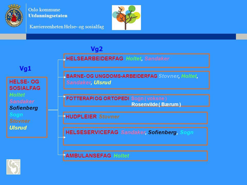 Oslo kommune Utdanningsetaten Karriereenheten Helse- og sosialfag Ofte valgte høyere utdanninger •Førskolelærer •Sykepleier •Vernepleier •Lærerskole •Politi •Faglærerutdanning •Spesialpedagogikk •Farmasi •Barnevernspedagog •Sosionom •Ergoterapeut