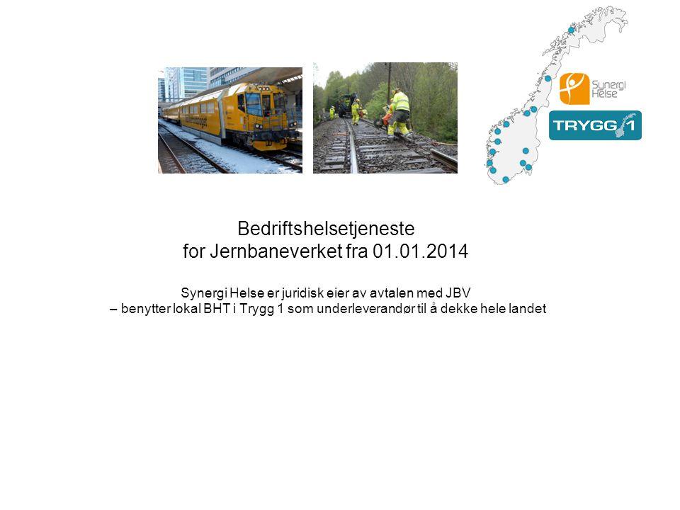 Bedriftshelsetjeneste for Jernbaneverket fra 01.01.2014 Synergi Helse er juridisk eier av avtalen med JBV – benytter lokal BHT i Trygg 1 som underleve