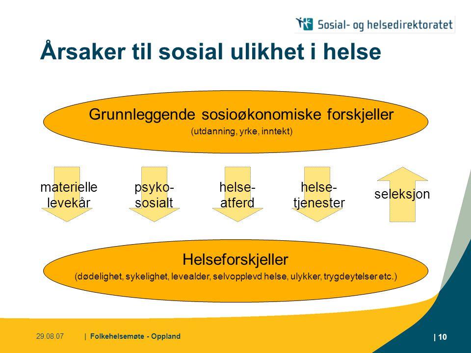 29.08.07| Folkehelsemøte - Oppland | 10 Årsaker til sosial ulikhet i helse Grunnleggende sosioøkonomiske forskjeller (utdanning, yrke, inntekt) seleks