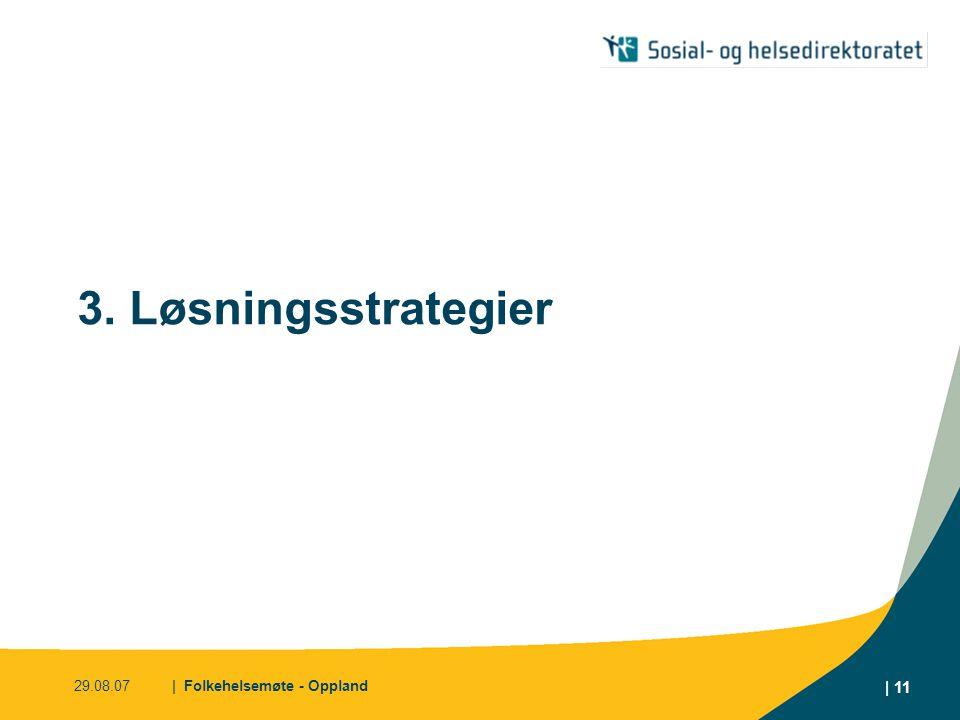 29.08.07| Folkehelsemøte - Oppland | 11 3. Løsningsstrategier