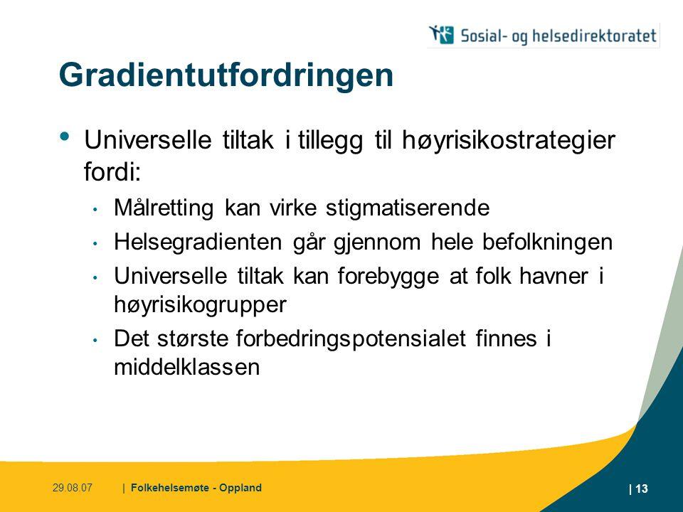 29.08.07| Folkehelsemøte - Oppland | 13 Gradientutfordringen • Universelle tiltak i tillegg til høyrisikostrategier fordi: • Målretting kan virke stig