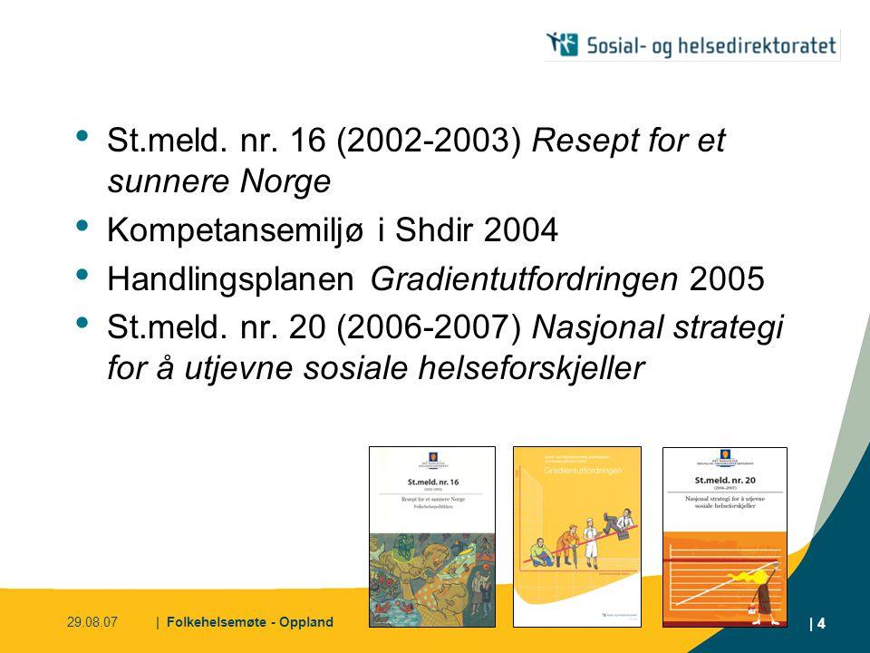 29.08.07| Folkehelsemøte - Oppland | 4 • St.meld. nr. 16 (2002-2003) Resept for et sunnere Norge • Kompetansemiljø i Shdir 2004 • Handlingsplanen Grad