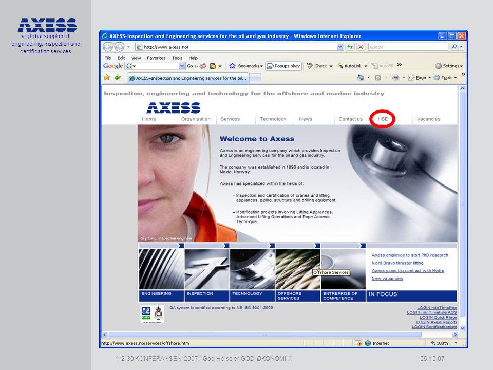 a global supplier of engineering, inspection and certification services 1-2-30 KONFERANSEN 2007: God Helse er GOD ØKONOMI ! 05.10.07