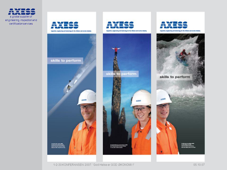a global supplier of engineering, inspection and certification services 1-2-30 KONFERANSEN 2007: God Helse er GOD ØKONOMI ! 05.10.07 Organisasjon, Axess gruppen •Axess Holding AS •MD Børge Gjeldvik •Axess AS •100% •MD Børge Gjeldvik •Molde •31 Engineers •Established 1998 •Axess Technology AS •51,8 % •MD Kjell Ødegård •Molde •22 Engineers •Established 2004 •Axess Orkla Inspection AS •50 % •MD Inge Helgeton •Orkanger and Kristiansund •60 Engineers •Established 2004
