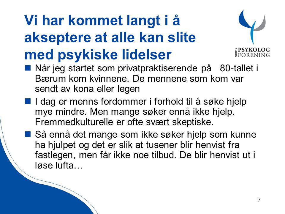7 Vi har kommet langt i å akseptere at alle kan slite med psykiske lidelser  Når jeg startet som privatpraktiserende på 80-tallet i Bærum kom kvinnene.