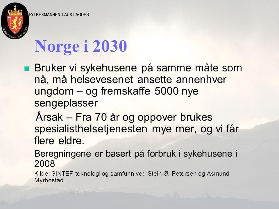 Norge i 2030 n Bruker vi sykehusene på samme måte som nå, må helsevesenet ansette annenhver ungdom – og fremskaffe 5000 nye sengeplasser Årsak – Fra 70 år og oppover brukes spesialisthelsetjenesten mye mer, og vi får flere eldre.