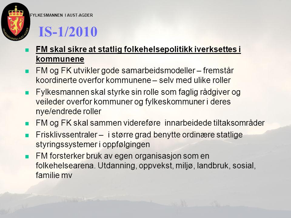 FYLKESMANNEN I AUST-AGDER IS-1/2010 n FM skal sikre at statlig folkehelsepolitikk iverksettes i kommunene n FM og FK utvikler gode samarbeidsmodeller