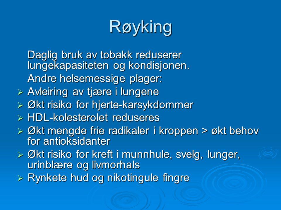Røyking  9 av 10 som dør av lungekreft i Norge, dør på grunn av røyking  KOLS har blitt en folkesykdom Antall daglig-røykere: 43% menn, 32 % kvinner.