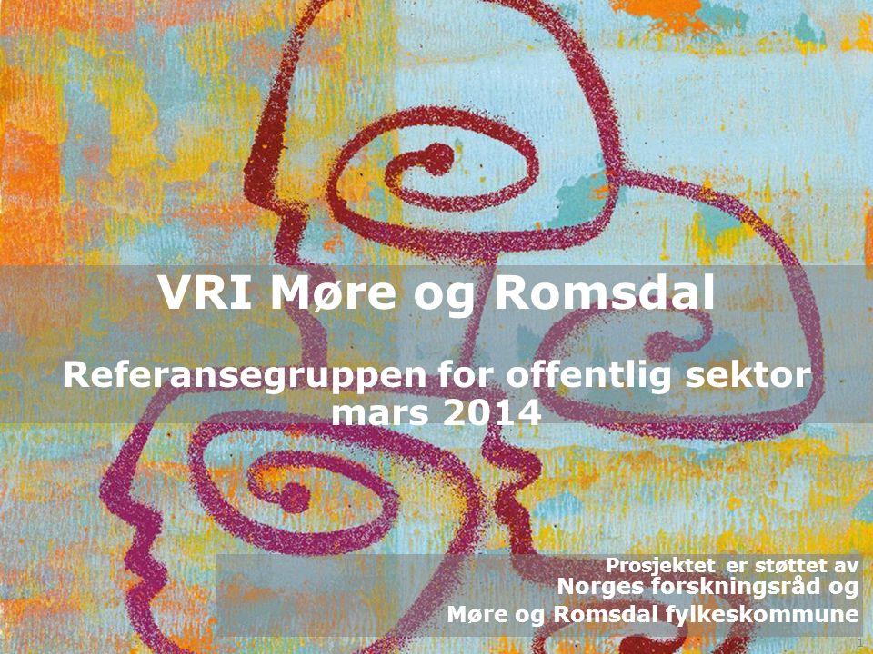 VRI Møre og Romsdal Saksliste 1.VRI Møre og Romsdal – status, virkemidler og rammer v/Øyvind Herse 2.VRI Offentlig – hva har vi gjort så lang i VRI offentlig v/ Kari Bachmann 3.Regionalt Forskningsfond Midt Norge – muligheter for offentlig sektor v/Gøril Groven 4.Hvordan kan VRI være med å støtte innovasjon og utvikling om helse – alle 2