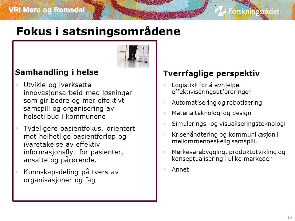 VRI Møre og Romsdal Fokus i satsningsområdene Samhandling i helse  Utvikle og iverksette innovasjonsarbeid med løsninger som gir bedre og mer effektivt samspill og organisering av helsetilbud i kommunene  Tydeligere pasientfokus, orientert mot helhetlige pasientforløp og ivaretakelse av effektiv informasjonsflyt for pasienter, ansatte og pårørende.