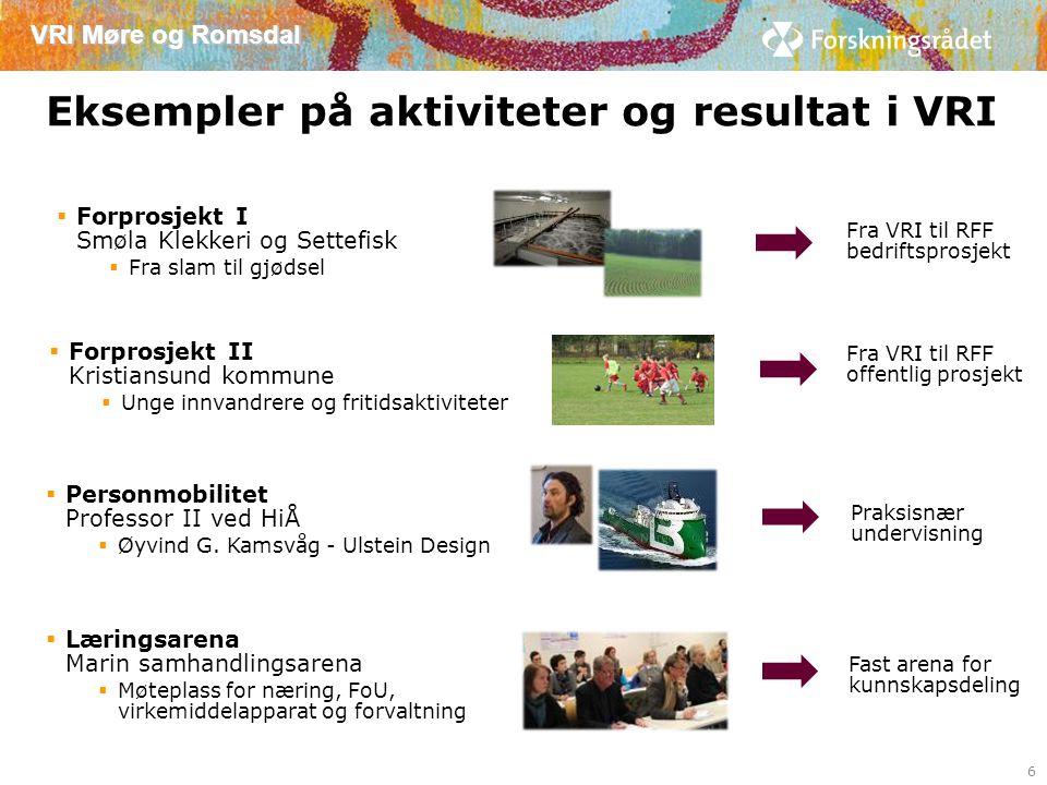 VRI Møre og Romsdal 16 nye forprosjekter 2013 – 120 siden 2007 7 Kr 19,5 mill siden 2007