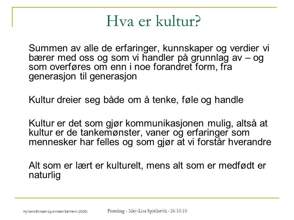 Foredrag - May-Lisa Spjelkevik - 26.10.10 Hva er kultur? Summen av alle de erfaringer, kunnskaper og verdier vi bærer med oss og som vi handler på gru