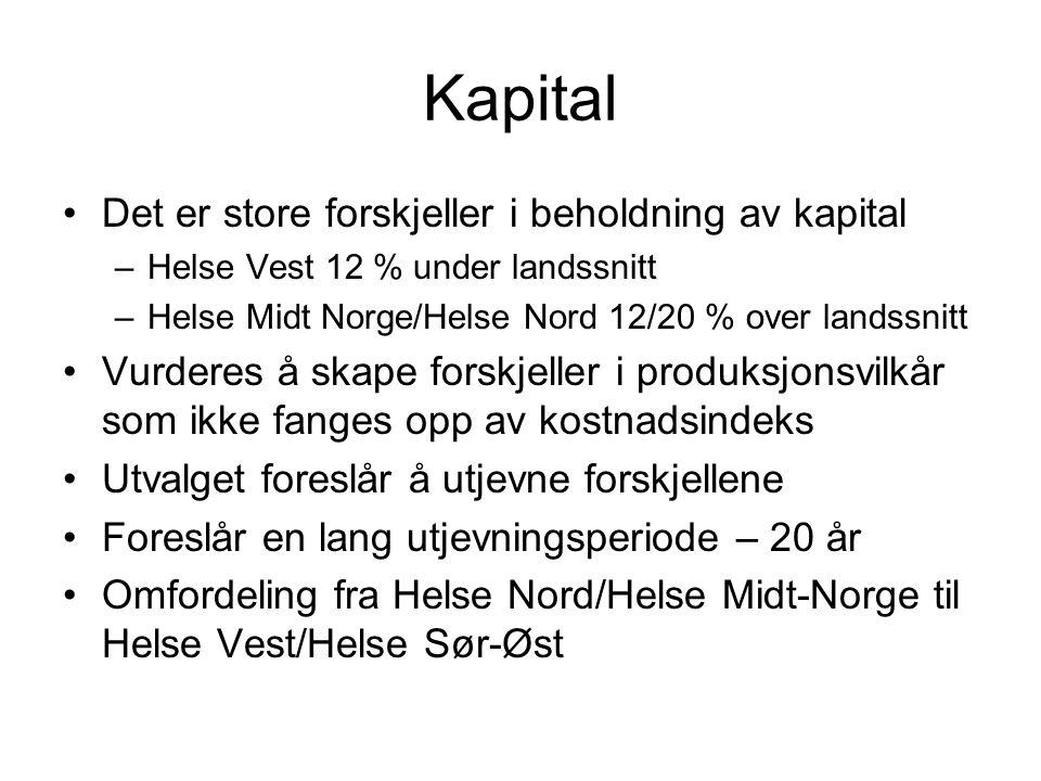 Kapital •Det er store forskjeller i beholdning av kapital –Helse Vest 12 % under landssnitt –Helse Midt Norge/Helse Nord 12/20 % over landssnitt •Vurd