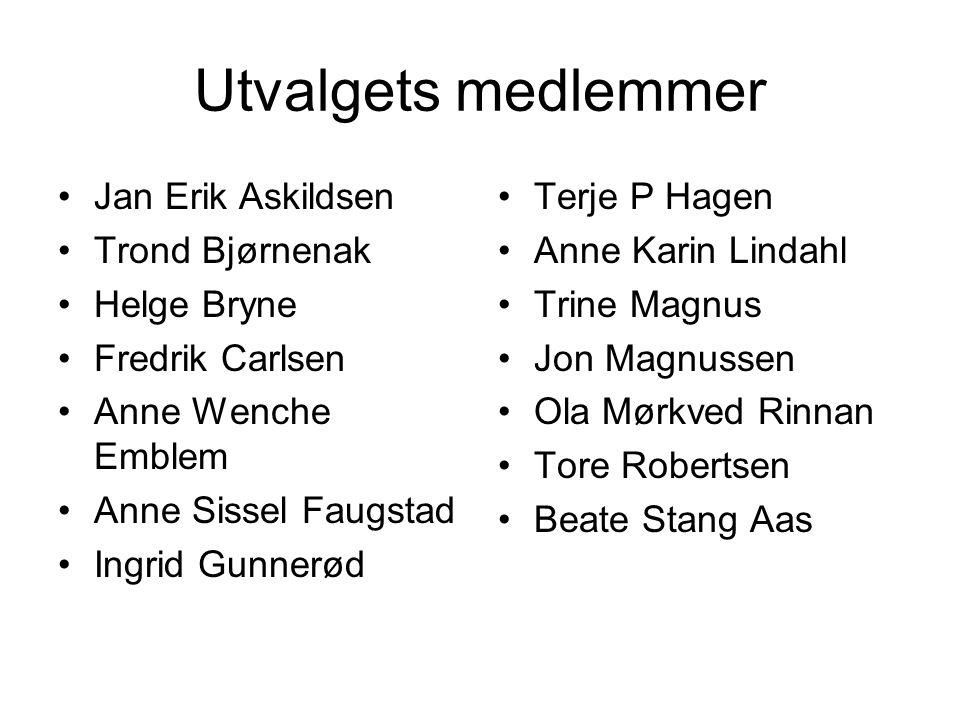 Utvalgets medlemmer •Jan Erik Askildsen •Trond Bjørnenak •Helge Bryne •Fredrik Carlsen •Anne Wenche Emblem •Anne Sissel Faugstad •Ingrid Gunnerød •Ter