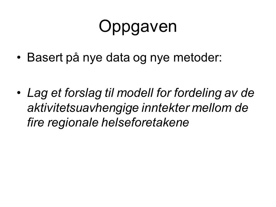 Oppgaven •Basert på nye data og nye metoder: •Lag et forslag til modell for fordeling av de aktivitetsuavhengige inntekter mellom de fire regionale he