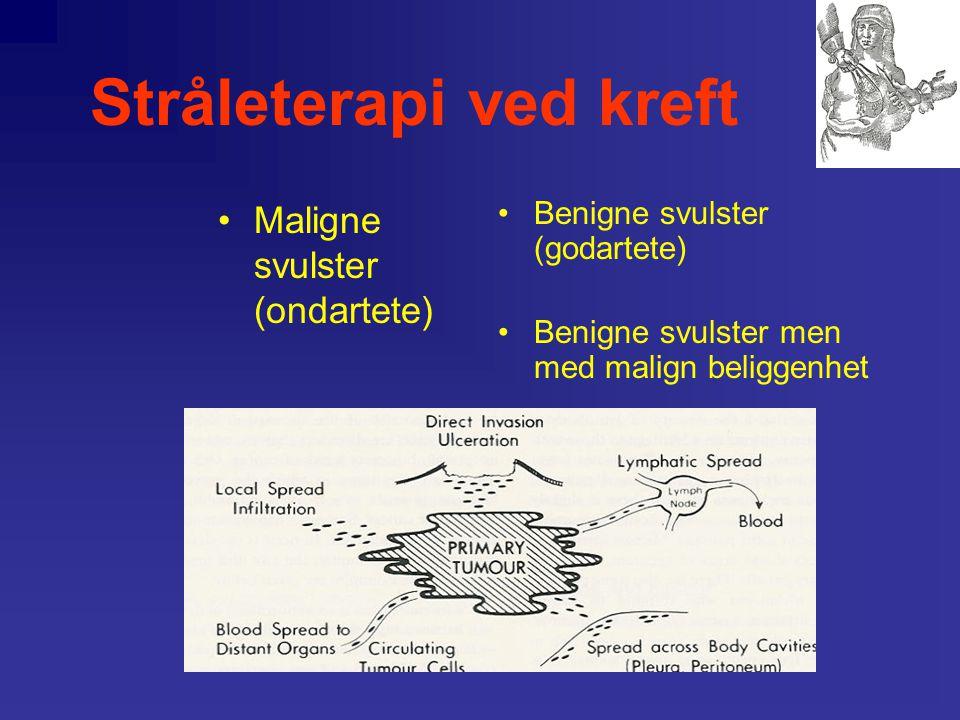 Stråleterapi ved kreft Kreftbiologiske karakteristika: •Proliferasjon •Invasivitet og metasaseevne •Tap av differensiering •Mutasjoner