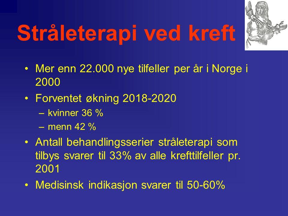 Stråleterapi ved kreft Antall nye krefttilfeller pr. år i Helse Øst, med unntak av Oslo (A), og Helse Sør (B)