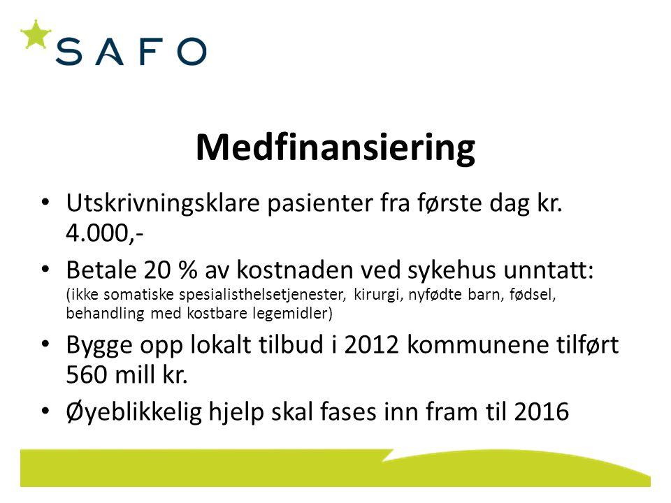 Medfinansiering • Utskrivningsklare pasienter fra første dag kr. 4.000,- • Betale 20 % av kostnaden ved sykehus unntatt: (ikke somatiske spesialisthel